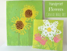 Handprint Flowers Canvas Wall Art