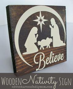Wooden Nativity Sign
