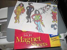 Magnetic paper dolls for a fridge