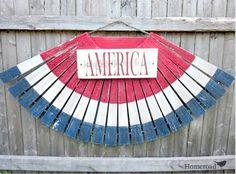 Wooden American Flag Bunting