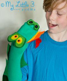 No Sew Dragon Sock Puppet