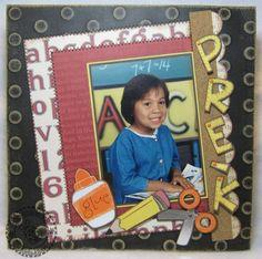 Pre-K School Portrait Scrapbook Layout