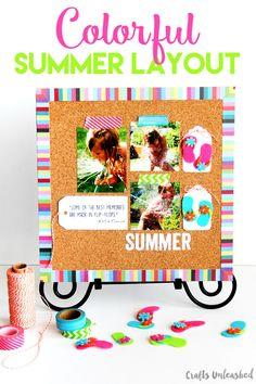 Faux Bulletin Board Summer Scrapbook Page Idea