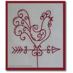 Redwork Chicken Weathervane
