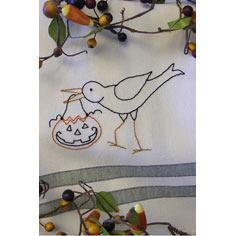 Trick or Treat Crow Tea Towel