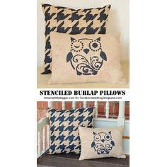 Outdoor Stenciled Burlap Pillows