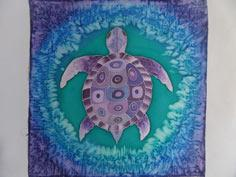 'Purple Turtle' Silk Painting