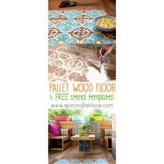 Stenciled Pallet Wood Floor