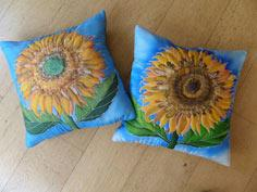 Silk Painting Sunflower Cushions