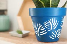 DIY Painted Palm Leaf Planter