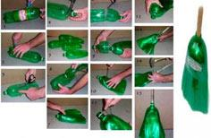 Recycle plastic bottlesinto a broom
